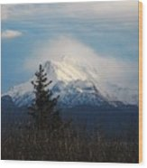Misty Mountain Top Wood Print