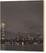 Misty Night On The Charles River Boston Ma Wood Print