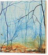 Misty November Woods Wood Print