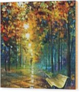 Misty Park Wood Print