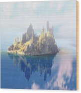 Misty Phantom Ship Island Crater Lake Wood Print