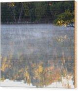 Dark Shoreline Frames Misty Fall Reflections On Jamaica Pond Wood Print