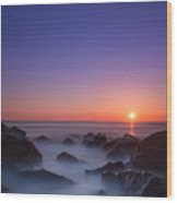 Misty Rock Sunrise Wood Print