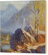Misty Rocks Wood Print
