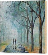 Misty Stroll Wood Print