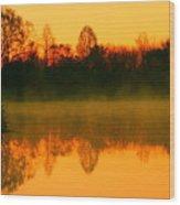 Misty Sunrise Wood Print by Morgan Hill
