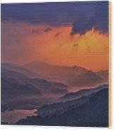 Misty Sunset Wood Print