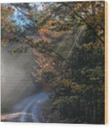Misty Turn In The Road Wood Print