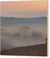 Misty Valley Sunrise Wood Print