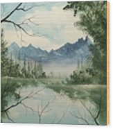 Misty View Wood Print