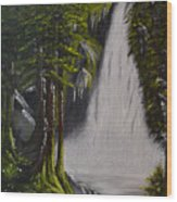 Misty Waterfall Wood Print