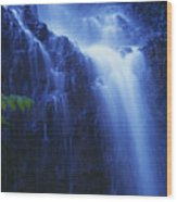 Misty Waterfall Wood Print