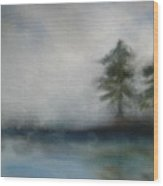 Misty Waters Wood Print