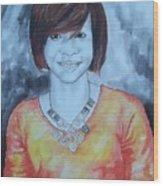 Mix Media Portrait Wood Print