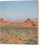 Mix Media Valley Of Fire  Wood Print