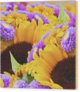 Mixed Autumn Flowers Wood Print