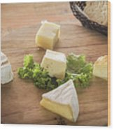 Mixed French Cheese Platter With Bread Wood Print