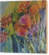 Mixed Media Flowers Wood Print