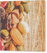 Mixed Nuts On Wooden Background Wood Print