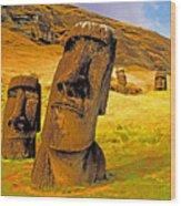 Moai Wood Print