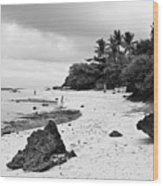Moalboal Cebu White Sand Beach In Black And White Wood Print