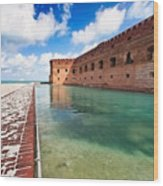 Moat And Walls Of Fort Jefferson Wood Print
