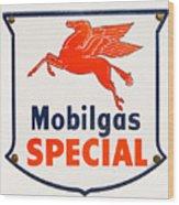 Mobil Gas Vintage Sign Wood Print