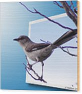 Mockingbird Branch Wood Print