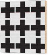 Mod Black And White Swiss Cross Mid Century Modern Design Wood Print
