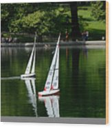 Model Boats Central Park New York Wood Print