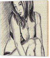 Model Quick Drawing Wood Print