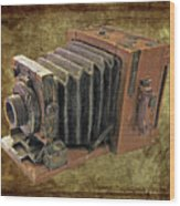 Model Vintage Field Camera Wood Print by Kenneth William Caleno
