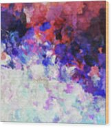 Modern Abstract Painting In Blue Wood Print