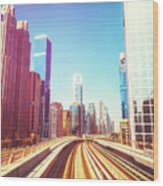 Modern Architecture Of Dubai Seen From A Metro Car. Wood Print