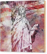 Modern-art Statue Of Liberty - Red Wood Print