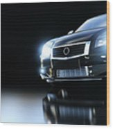 Modern Black Metallic Sedan Car In Spotlight. Banner Wood Print