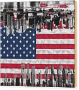 Modern City Scape American Flag Wood Print