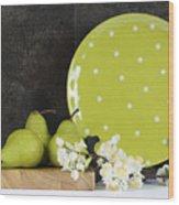 Modern Green And White Polka Dot Kitchen Wood Print