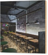 Modern Industrial Contemporary Interior Design Restaurant Wood Print