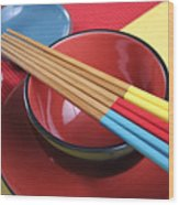 Modern Japanese Oriental Place Setting Wood Print