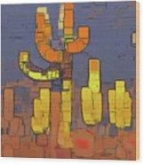 Modern Saguaro - Red Wood Print