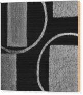 Modern Shapes Silver Wood Print