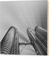 Modern Skyscraper Black And White  Wood Print by Stefano Senise