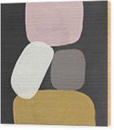Modern Stacked Stones- Art By Linda Woods Wood Print
