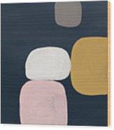 Modern Stones Navy 2- Art By Linda Woods Wood Print