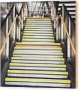 Modern Subway Steps In London Canary Wharf District Wood Print