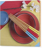 Modern Take On Traditional Japanese Oriental Place Setting Wood Print