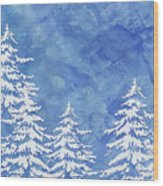 Modern Watercolor Winter Abstract - Snowy Trees Wood Print