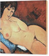 Modigliani's Nude On A Blue Cushion Wood Print