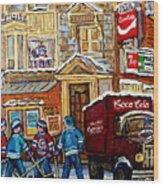 Moe's Corner Snack Bar And Diner Montreal Landmark  Restaurant Canadian Art Carole Spandau Wood Print